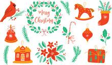 Vector Christmas Clipart Collection: Cardinal, Holly Wreath, Toys, Gift, Poinsettia, Candy, Bell, Sock