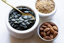 Pumpkin Seeds, Flax Seeds And Almond Nut