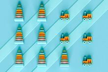 Kids Toys Organized On Blue Stripes