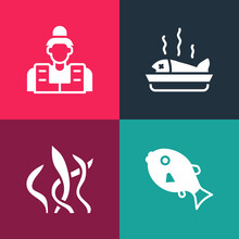 Set Pop Art Tropical Fish, Seaweed, Served On Plate And Fisherman Icon. Vector
