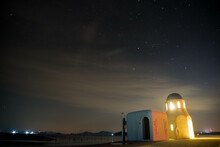 Starry Sky And Light Small Temple In Island
