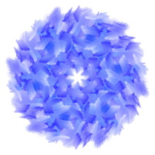 Hand Drawn Illustration Of Blue Twirl Spiral In Circular Symmetrical Shape On White Background