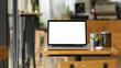 Leinwandbild Motiv Laptop blank screen mockup stand on wooden table in coffee shop