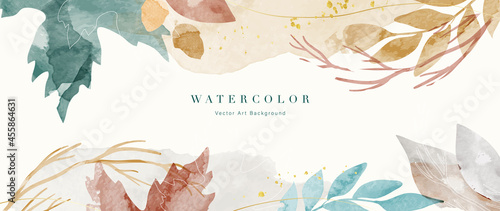 Stampa su Tela Autumn background design  with watercolor brush texture, Flower and botanical leaves watercolor hand drawing