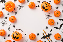 Overhead Photo Of Heap Of Decoration For Halloween Pumpkins Spiders Web Bats Witches Party Tubules And Baskets As Pumpkin With Sweets Isolated On The White Background With Copyspace In The Middle