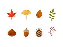 秋の落ち葉や木の実の素材