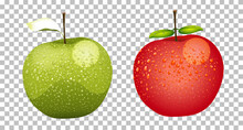 Green And Red Apples Realistic Isolated