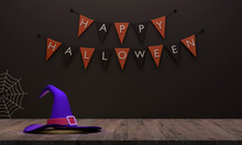 A Witch Hat On The Wooden Floor And There Is A Flag Background As If Preparing For A Halloween Party.