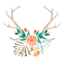 Watercolor Horns With A Peony-shaped Rose