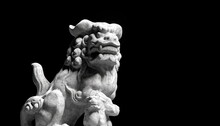 3d Rendering Of Chinese Lion Marble Face, Lion, Stone Carving Sculpture, The Symbol Of Power. Antique Carving Doll.
