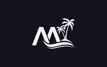 Water Wave And Beach Logo Design With Double AA Letter
