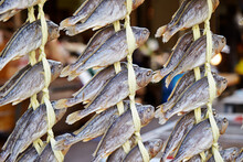 Dried Fish On Display In A Traditional Market