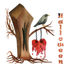Watercolor Halloween. Heart On The Tree. A Melted Heart Weighs On A Tree, A Crow Sits On A Branch.