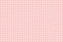 Hand Drawn Grid Pattern Background On A Pink Background With Pastel Colors. Vector Illustration