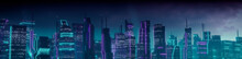 Cyberpunk Cityscape With Purple And Cyan Neon Lights. Night Scene With Visionary Skyscrapers.