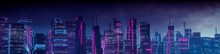 Sci-fi City Skyline With Blue And Pink Neon Lights. Night Scene With Advanced Superstructures.