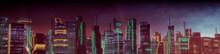 Futuristic Cityscape With Orange And Green Neon Lights. Night Scene With Advanced Architecture.