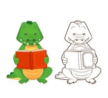 Coloring Book, Cute Green Crocodile Is Reading A Book. Vector Illustration In Cartoon Style, Contour Drawing