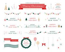 クリスマスのフレームと飾りのイラストセット 装飾 あしらい クリスマスツリー リース シンプル