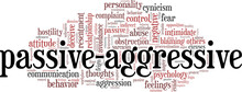 Passive-Aggressive Behavior Vector Illustration Word Cloud Isolated On A White Background.