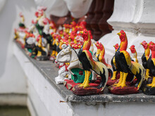 The Statue Of A Gamecock That Is Used To Worship Sacred Things In Thailand.