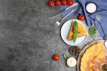 Delicious Pie With Minced Meat Served On Grey Table, Flat Lay. Space For Text