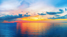 Beautiful Sea Sunset Landscape Sunrise Seascape, Tropical Island Beach Exotic Nature, Blue Water Ocean Waves, Colorful Red Orange Pink Purple Sky Clouds Yellow Sun Reflection, Summer Holidays Vacation