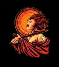 Woman Geisha Seppuku Illustration