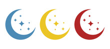 Moon Icon With Stars On A White Background, Vector Illustration