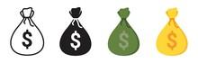 Money Bag Icon Set, Money Bag Icon Different Style. Vector Illustration
