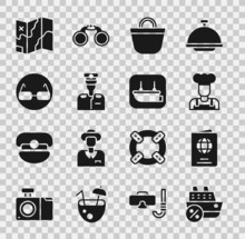 Set Cruise Ship, Passport, Cook, Beach Bag, Captain Of, Glasses, Folded Map And Lifeboat Icon. Vector