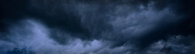 Heavy Gray Storm Clouds. Gloomy Sky Background For Design. Web Banner. Website Header.