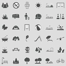 Park And Outdoor Icons. Sticker Design. Vector Illustration.