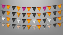 Black And Orange Triangle Flags Garlands For Happy Halloween Party.