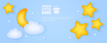 Invitation Cards For Baby Shower. Cute Illustrations For A Boy And A Girl With Clouds And The Moon
