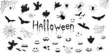 Halloween Black Silhouette Icon Set. Vector Illustration. Halloween Character Silhounttes Collection. White Background.