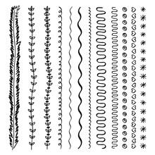 Set Of Vector Brush Lines, Doodle Sketches, Scribble Lines, Design Elements Isolated On White Background. Hand Drawn Floral Elements