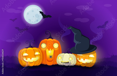 Obraz na plátně Halloween Pumpkins on night  background with bats and moonlit