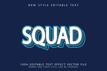 Text Effect 3 Dimension Squad Color White And Light Blue Gradient