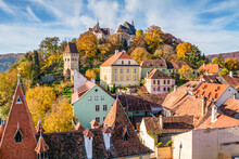 The Ancient City Of Sighisoara In Romania
