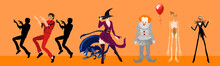 Happy Halloween Flat Banner With Monster Parade, Vector Template. Halloween Carnival