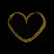 Frame In The Shape Of A Heart Made Of Sparkling Confetti On Black Background. Valentines Day Card Template Esp 10