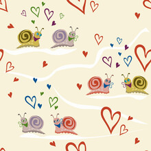 Vector Seamless Pattern With Hand Drawn Snails And Hearts. Valentine's Day Background. Blue, White, Beige, Red. Love Theme. Doodle Style Illustration. Cute Redesign For Textiles, Print, Kids Wallpaper