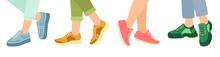Feet In Stylish Sneakers, Vector Illustration