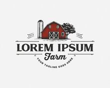 Vintage Red Barn Farm Logo Design