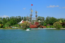 Pirate Ship In Sazova Science, Art And Culture Park. Eskisehir, Turkey. It Is The Section That Attracts The Most Attention Of The Visitors.