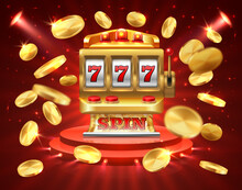 Slot Machine Banner. Casino Gambling Roulette Online Lottery Jackpot 3D Realistic Gambling Background. Roulette Slot Machine