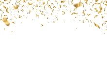 Golden Celebration Confetti. Falling Party Ribbons, Birthday Flying Holiday Decoration. Realistic Anniversary Event Gold Ribbon