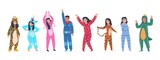 Fototapeta Dinusie - Characters in pajamas. Cartoon men and women in different pajamas, superheroes and animals costumes. Vector pajama party set