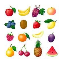 Cartoon Fruits And Berries. Apple Banana Grape Peach Blueberry Kiwi Lemon Strawberry Raspberry Melon Plum Pear Pineapple Set